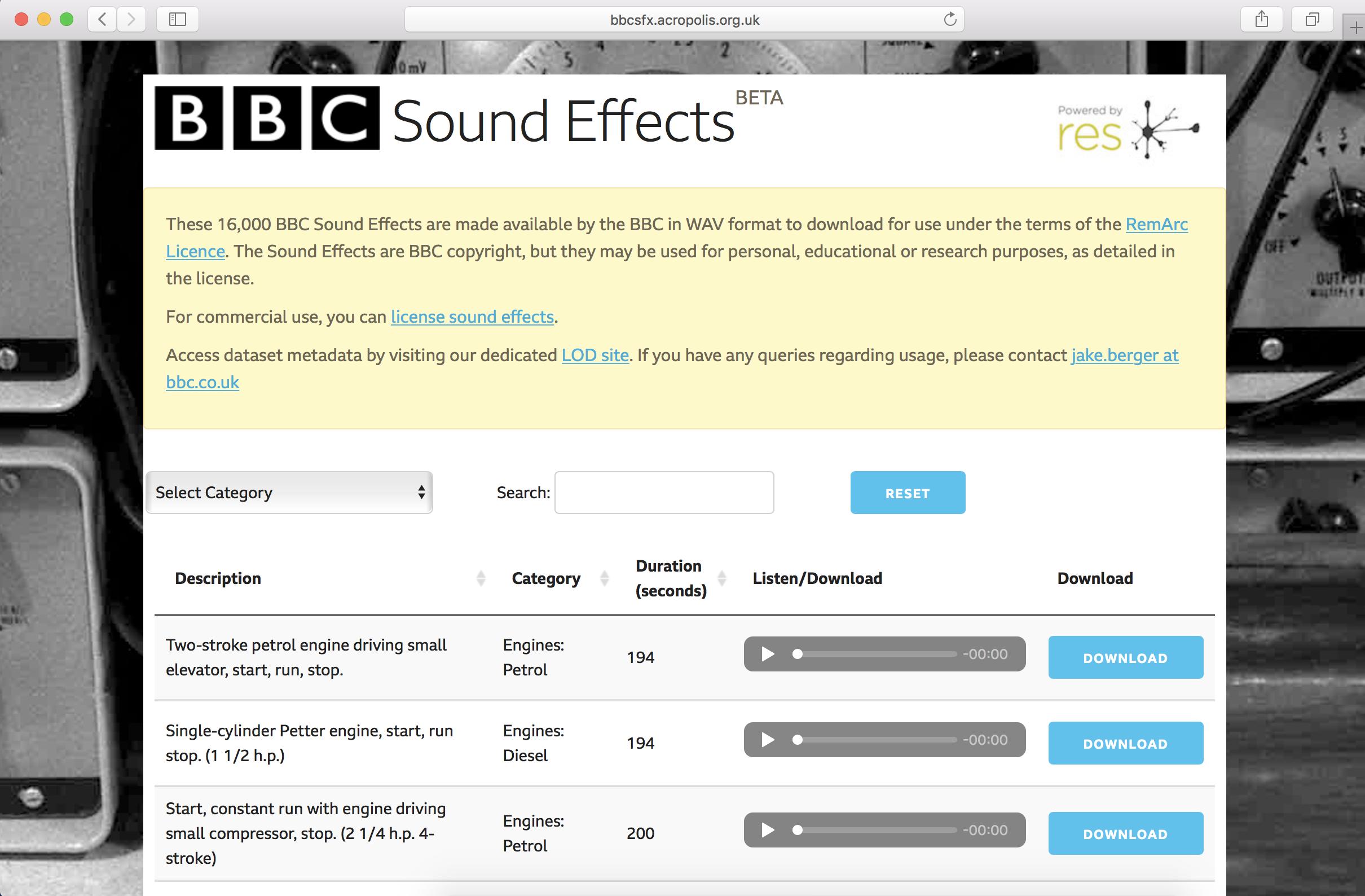 bbc, bbc library, soyund effects, libreria de sonidos, libreria gratuita, libreria gratuita de sonidos, tan grande y jugando